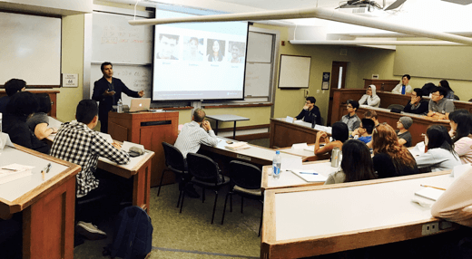 Vinni Bala, SelfScore's Chief Credit Officer, speaks with students at the UC Berkeley, Haas School of Business